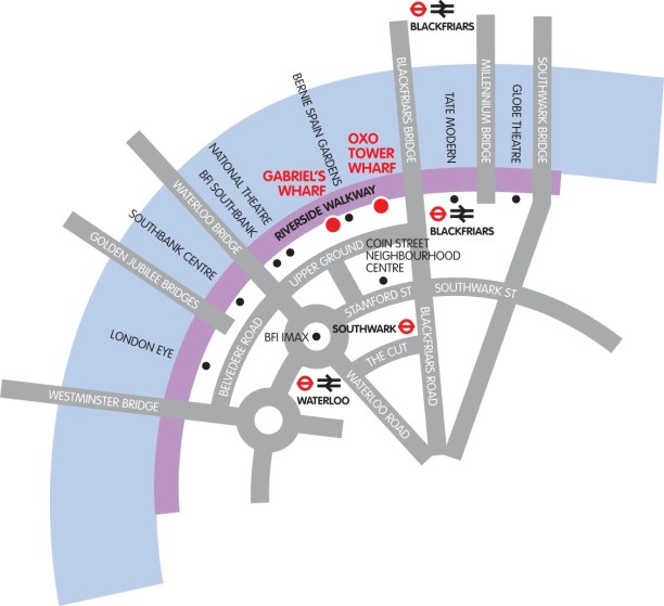 Map for Bargehouse, OXO Tower Wharf, Southbank, London.
