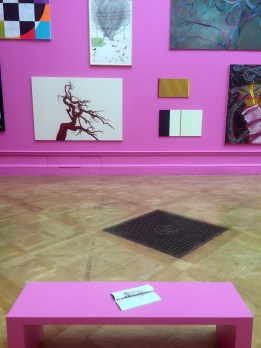 Installation view, Gallery III, with Tony Bevan RA's 'Tree No. 7', 2015, acrylic and charcoal (upper right), in Summer Show 2015 at Royal Academy of Arts, London. Photo credit Kelise Franclemont.