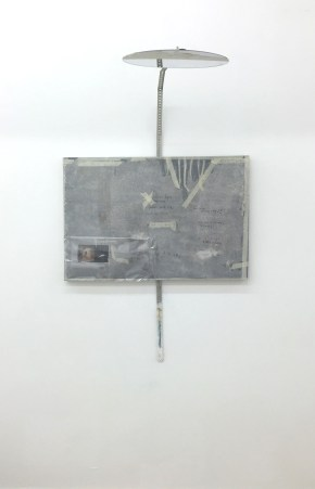 Lorraine Fossi, 'Panopticon', 2016, mixed media on canvas, tape, plastic mirror, magnets, screws, in 'Young Gods' 2016 at Griffin Gallery, London. Photo credit Kelise Franclemont.
