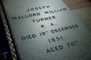 JMW Turner's tombstone, at St Paul's Cathedral, London. Image source unknown.