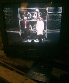 Ossama Halal, screenshot of the play 'Under Zero', 2016, documentary film, in 'Create Syria - the future constellation', at House of Vans London, Waterloo. Photo credit: Kelise Franclemont.