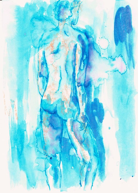 Standing nude (back 1), 2016, ink on paper, 5 x 7 inches. SOLD.