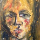 Me as Leon Kossoff 1952 #365LoveNotesToSelf Day 127, oil on canvas