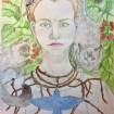 Me as Frida Kahlo Self-Portrait with Thorn Necklace and Hummingbird 1940 #365LoveNotesToSelf Day 136, watercolour and coloured pencil, with thorn necklace, swallow, my two cats, tomatoes, and a bumblebee