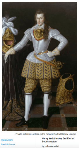 Henry Wriothesley, 3rd Earl of Southhampton by unknown artist. Image courtesy www.npg.org.uk