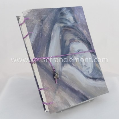 handsewn journal, exposed stitched binding, figure detail, nude woman, purples, lavender, grey, lilac cord closure with beads