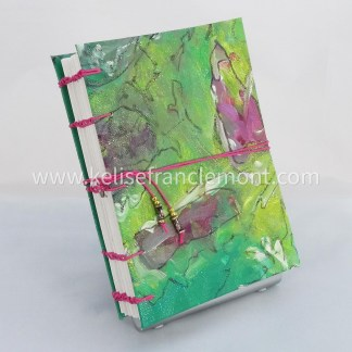 handsewn journal, exposed stitched binding,