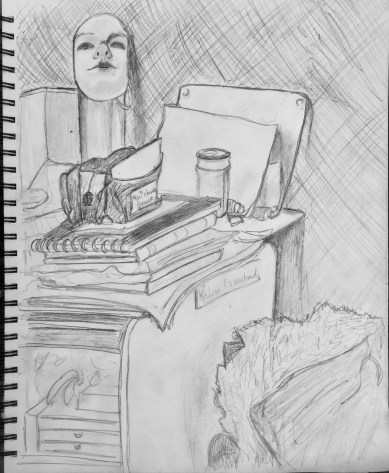 Me in Giacometti's studio drawing with self-portrait 1927 #365LoveNotesToSelf Day 124, graphite