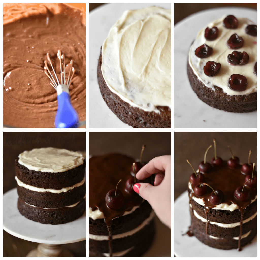 Homemade Black Forest Cake Recipe| This homemade black forest recipe is so moist and delicious you won't be able to put the fork down! I pair my amazing chocolate cake with delicious cherries, and a little kick to make the perfect black forest cake that will impress at your next event!| https://butterysweet.com/uncategorized/black-forest-cake-recipe