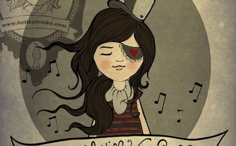 """Kelley Frisby illustration vintage inspired """"Our Song"""""""