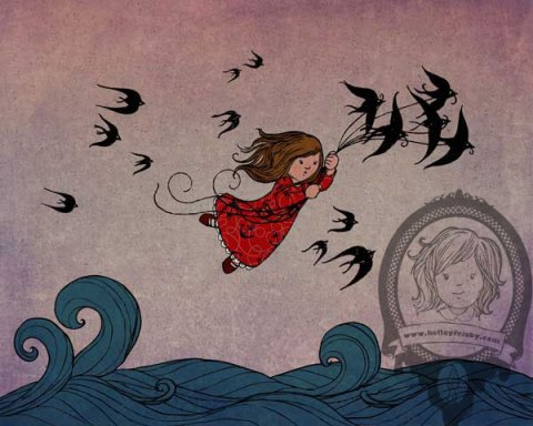 """Kelley Frisby Illustration girl with sparrows """"Fly Away With Me"""""""