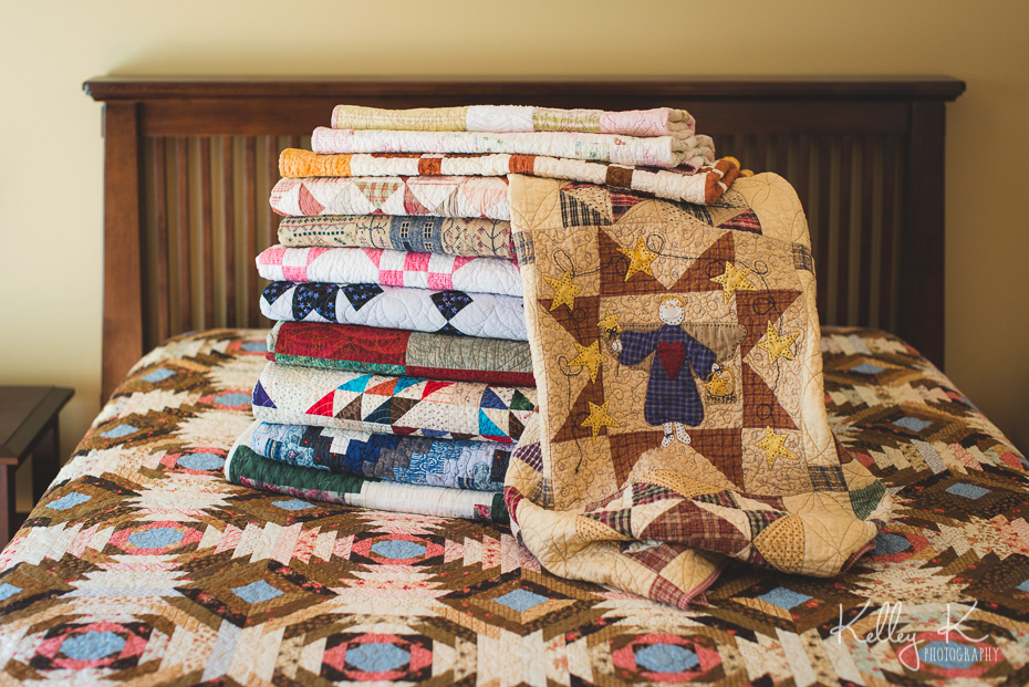 Stack of handmade quilts (Sewn by Cindy)