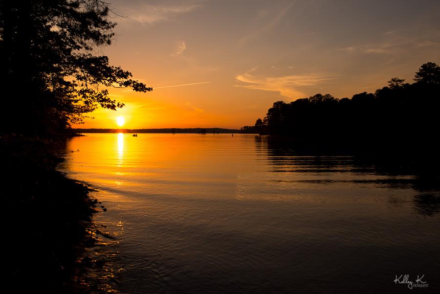Landscape photo of sunset over lake over West Point Lake