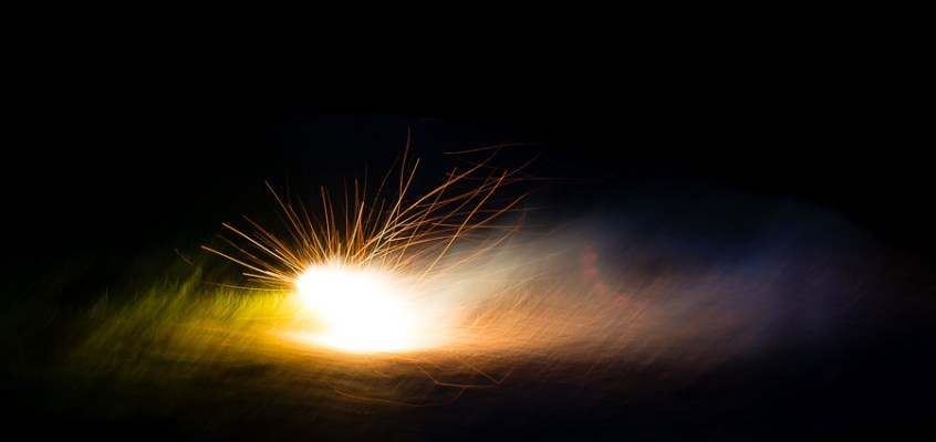 Fine art image of fireworks with slow shutter