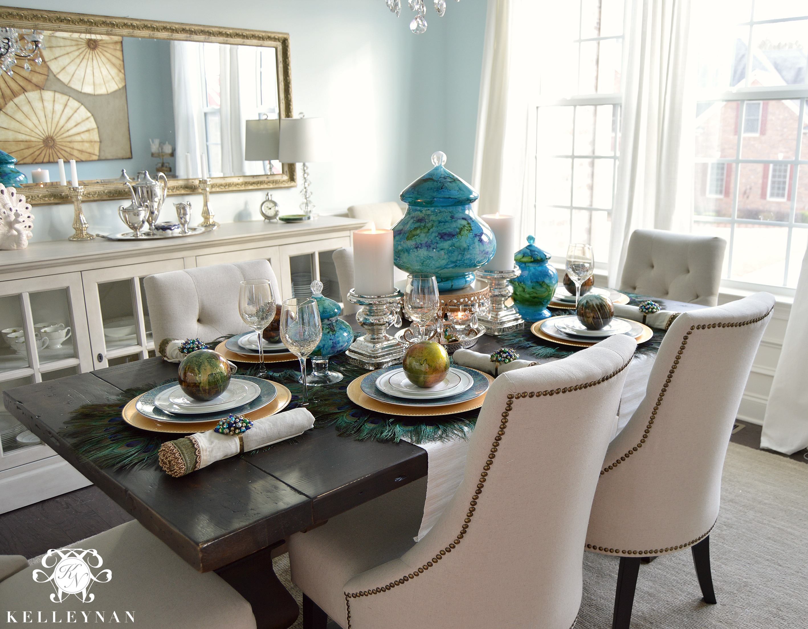 gold dining chairs chair covers walmart peacock inspired room and tablescape - kelley nan