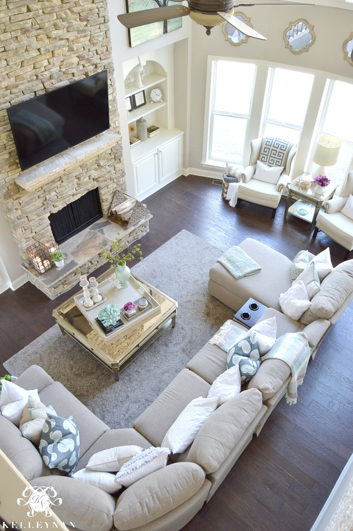 living room color schemes black leather couch 2 beautiful accent chairs cool tone spring ready tour - kelley nan
