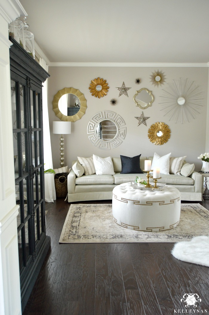 formal living room design chic furniture tour tufted ottoman in