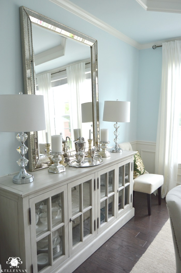 accessorize grey living room organize furniture dining update | vertical vs. horizontal buffet mirror