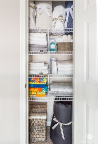 A Small Organized Linen Closet (And Ideas to Store Bulky ...