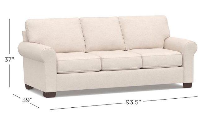 buchanan sofa with chaise poltrona frau john dimensions pottery barn comparison cameron vs pearce pb roll arm