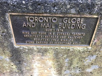 One of many plaques at Guild Park explaining the origin of building bits on the grounds.