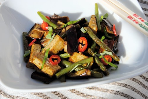tofu aubergine curry in bowl