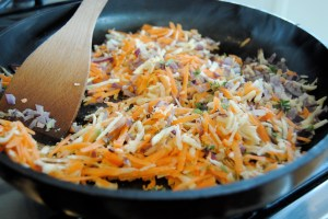 sauteed carrot onion parsnip for turkey meatloaf