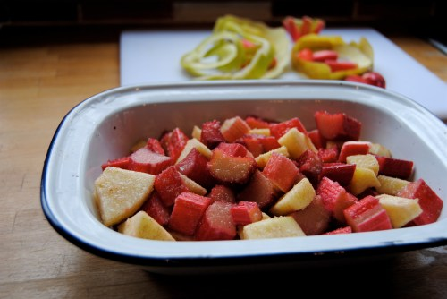 rhubarb and apple with peel in background