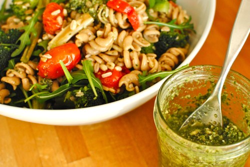 rocket and pumpkin seed pesto pasta
