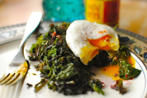 spicy kale and egg breakfast