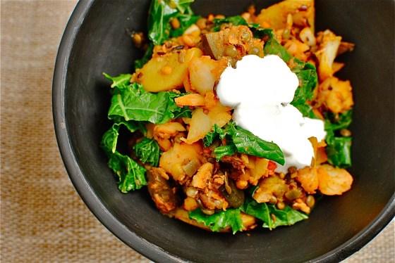 tandoori lentils, potato and eggplant hash