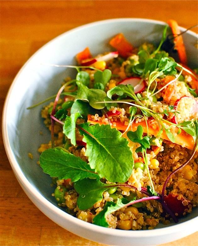 quinoa bowl with avocado and edamame