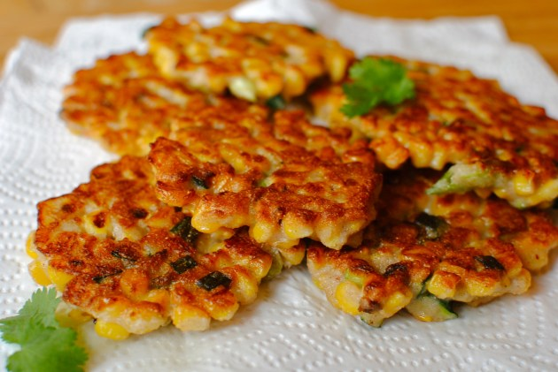 smoky corn fritters with guacamole