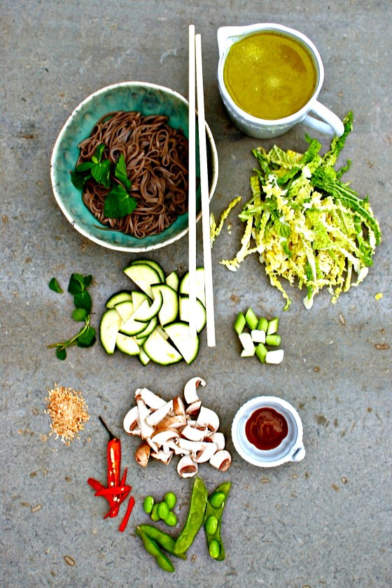 noodle soup mise en place