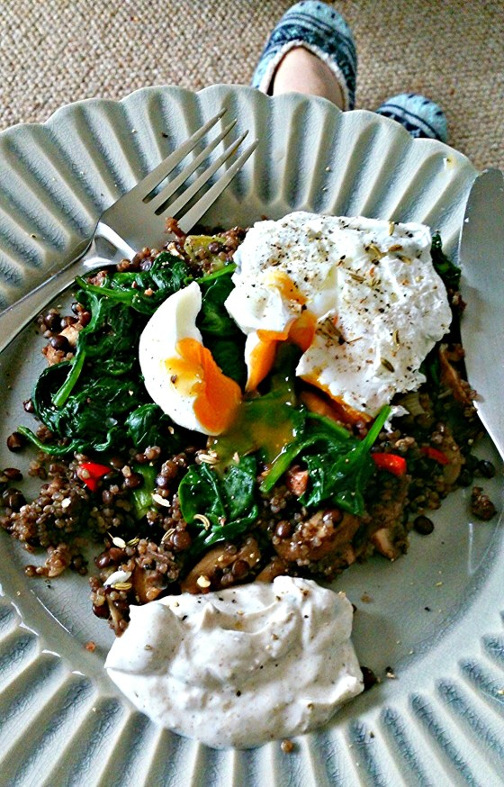 quinoa and lentil egg breakfast