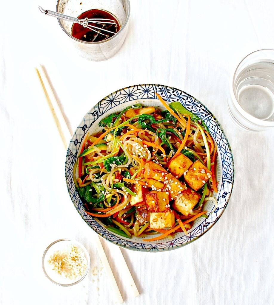Korean Sweet Potato Noodle Stir Fry (Japchae) with Marinated Baked Tofu