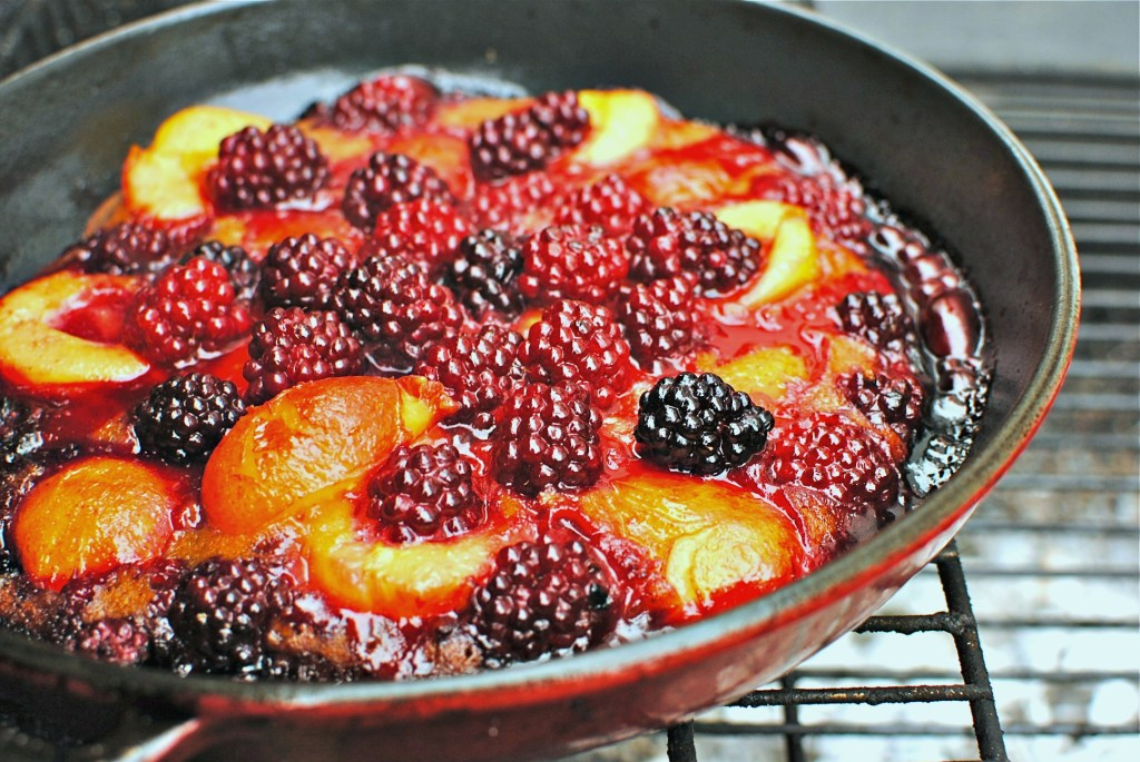 plum-berry upside down skillet cobbler by food to glow