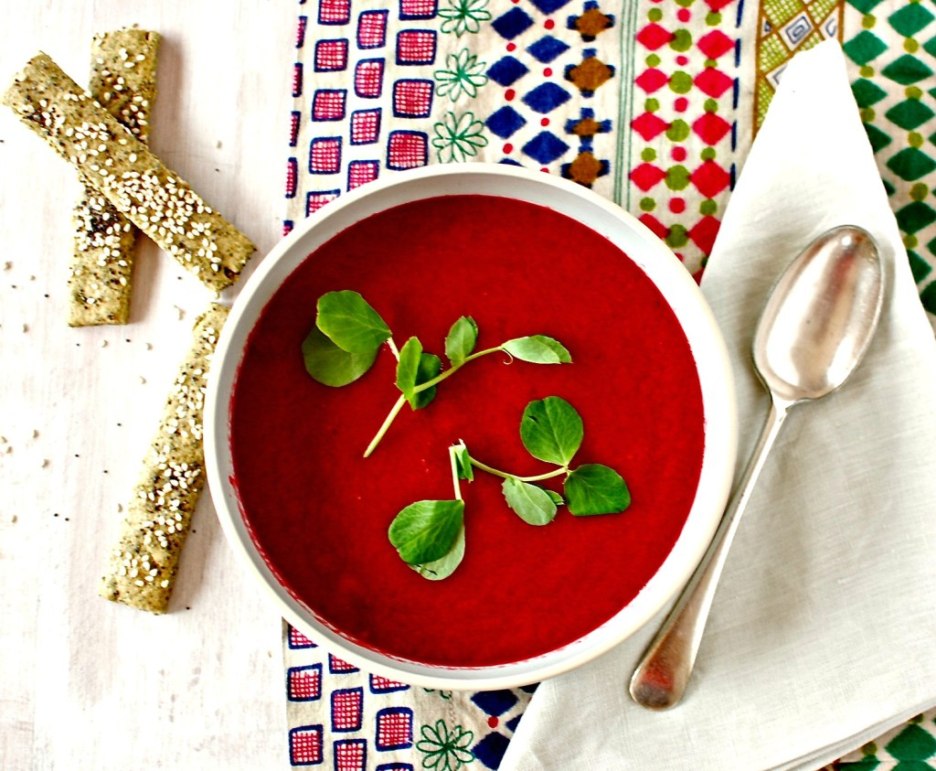 nut and seed crackers + beet soup
