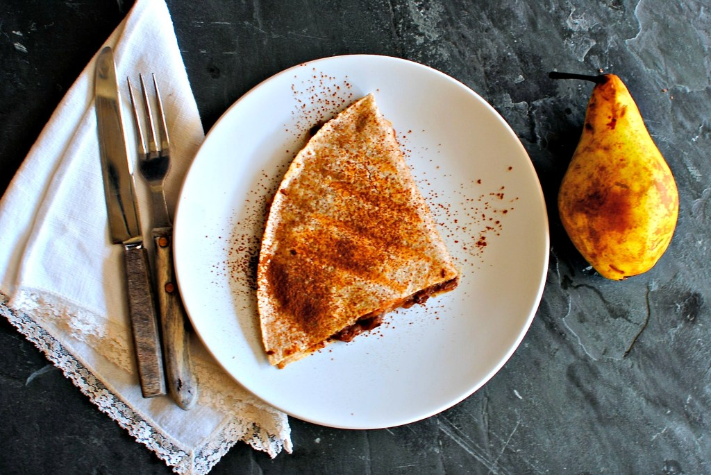 chocolate and pear quesadilla by food to glow