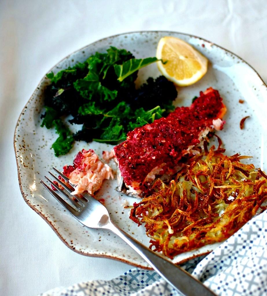 beetroot-walnut-salmon-spiralized-baked-potato-rosti-food-to-glow