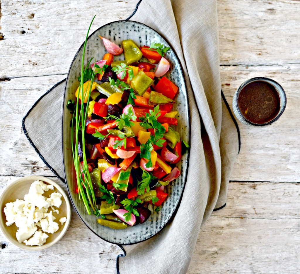 roasted rainbow salad with pomegranate dressing by food to glow