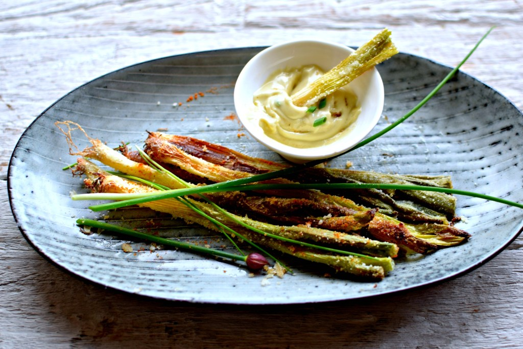 crunchy spring onions and wasabi-lime mayo // food to glow