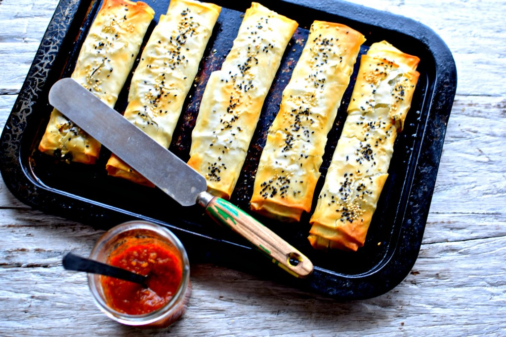wild greens, chickpea and ricotta borek by food to glow
