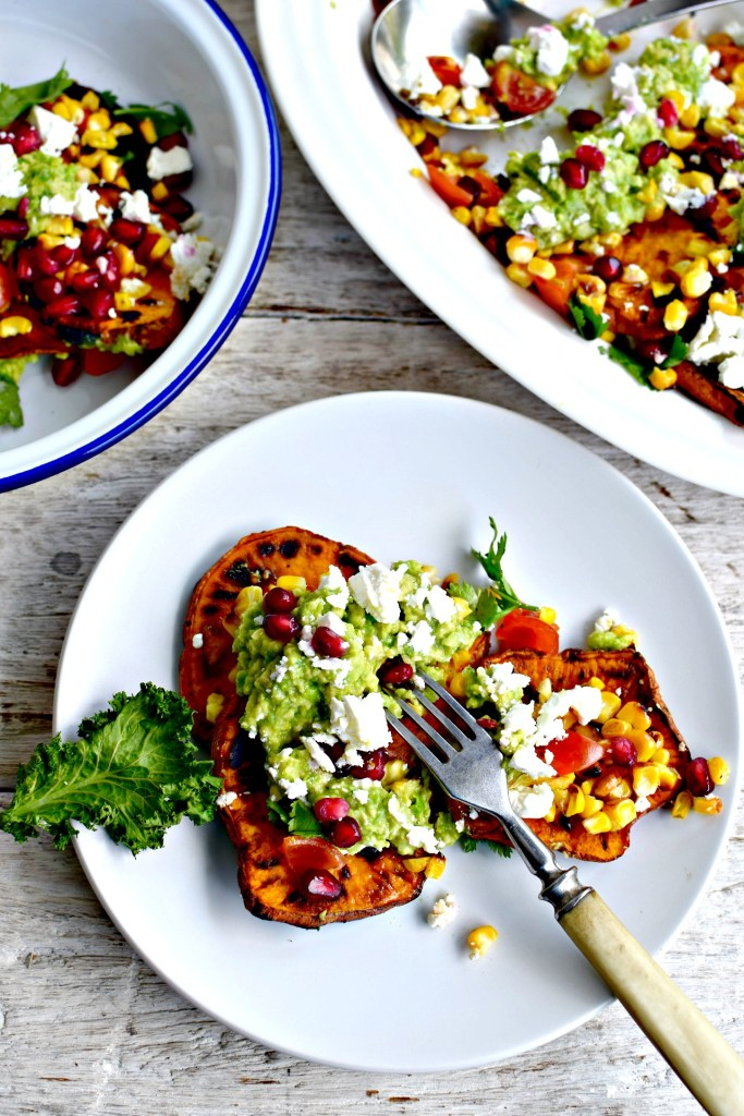 mexican barbecued vegetable salad // food to glow #salads #bbq #sweet potatoes #guacamole