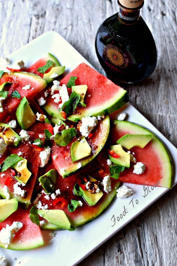 watermelon, feta, avocado, chilli, mint and due vittorie balsamic vinegar // food to glow