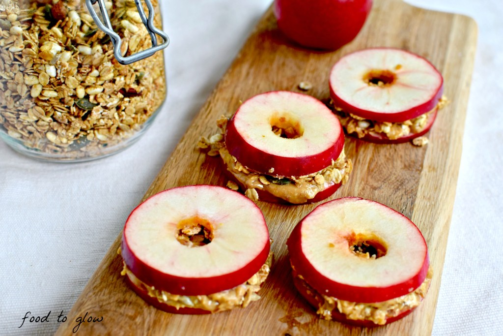 Granola & Peanut Butter Applewiches // food to glow