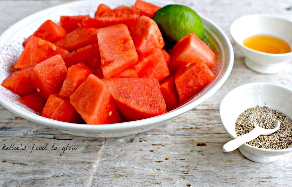 watermelon & lime granita with chia seeds // food to glow