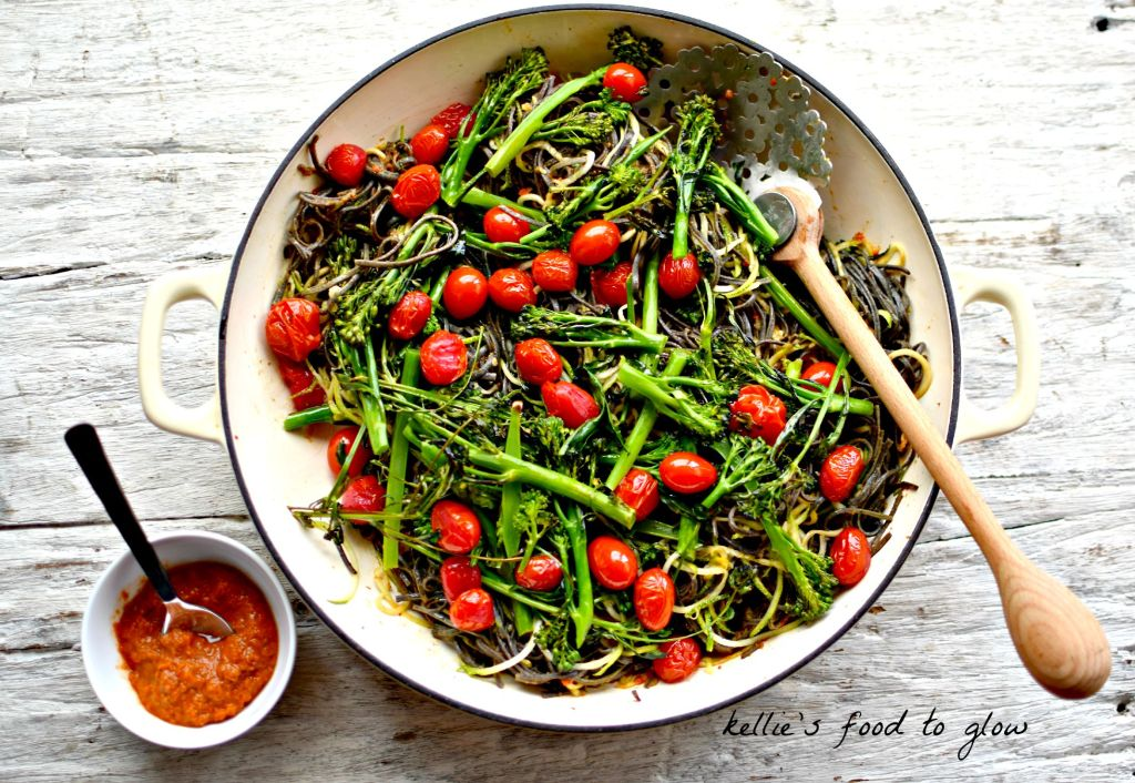 Honey-Harissa Greens with Black Bean Pasta >> Just a few healthy ingredients - one of them super special and full of fibre and protein - make this a quick midweek meal for the more spice adventurous among you. The greens and pasta type are adaptable to your taste, and the options for colourful and complementing garnishes are considerable. Milder option is also given.
