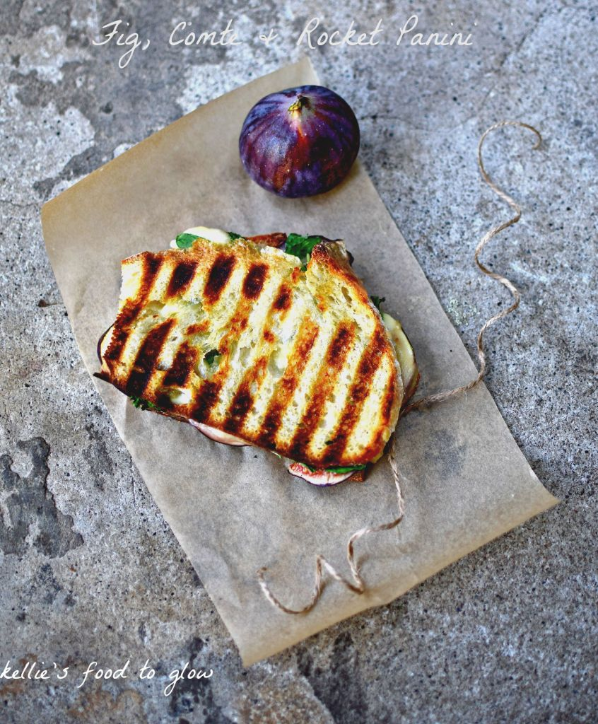 fig, comte cheese and rocket panini