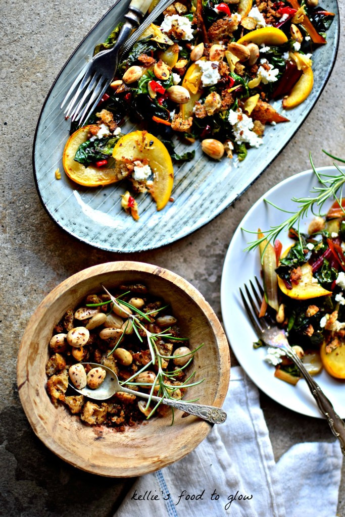 Easily a side dish, light main course or easy appetizer, this textural combination of sautéed autumn vegetables, crispy spiced breadcrumsb and soft, lemony goat's cheese is autumn on a plate.